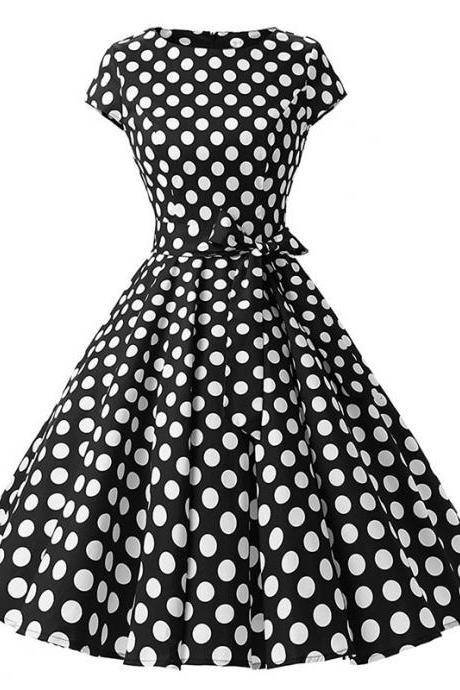 Vintage Polka Dot Dress Women Summer Short Sleeve Belted Rockabilly Casual Party Dress black (big dot)