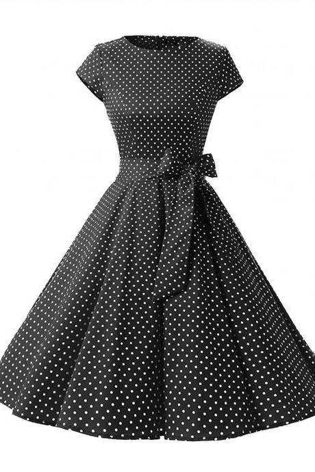 Vintage Polka Dot Dress Women Summer Short Sleeve Belted Rockabilly Casual Party Dress black (small dot)