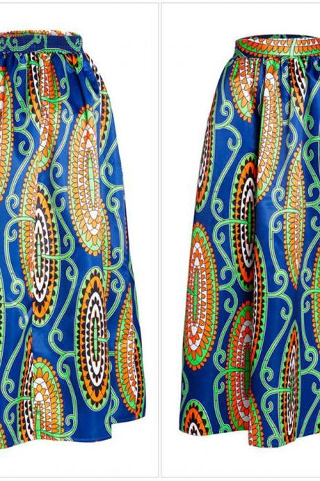 Women African Maxi Skirt Floral Printed High Waist Pleated Floor Length Boho Beach Long Skirt Q0001
