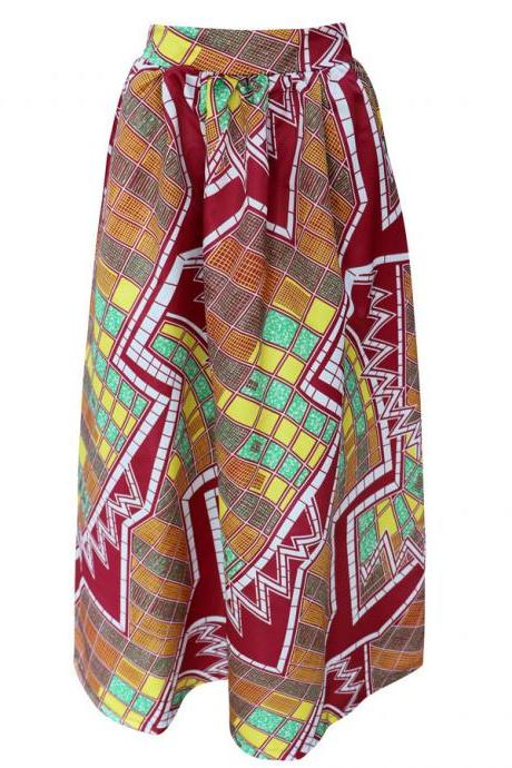 Women African Maxi Skirt Floral Printed High Waist Pleated Floor Length Boho Beach Long Skirt Q0005