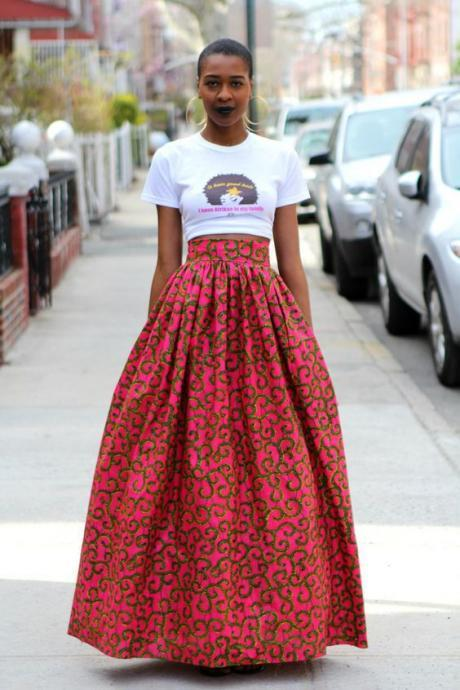 Women African Maxi Skirt Floral Printed High Waist Pleated Floor Length Boho Beach Long Skirt Q00014
