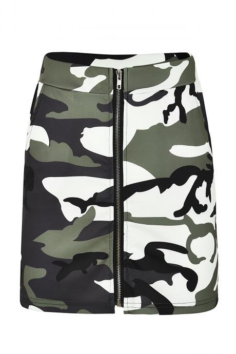 Women Camouflage Mini Skirt Front Zipper High Waist Sexy Slim Shoot Bodycon Skirt army green