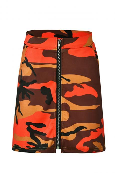 Women Camouflage Mini Skirt Front Zipper High Waist Sexy Slim Shoot Bodycon Skirt orange