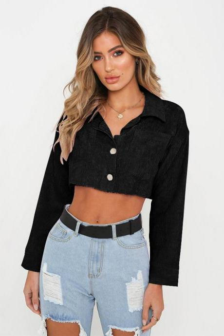 Women Lapel Denim Coat Autumn Long Sleeve Sexy Navel Single Breasted Short Jackets Outwear black