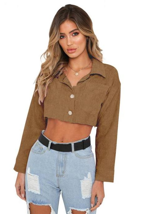 Women Lapel Denim Coat Autumn Long Sleeve Sexy Navel Single Breasted Short Jackets Outwear coffee
