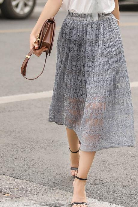 Women Lace Skirt Elegant Elastic High Waist Hollow Out Summer Casual Midi Skirt gray