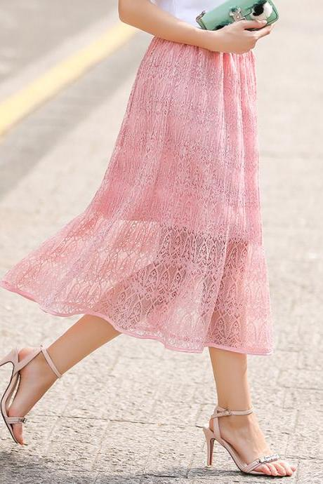 Women Lace Skirt Elegant Elastic High Waist Hollow Out Summer Casual Midi Skirt pink