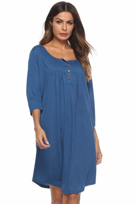 Women T Shirt Dress Autumn 3/4 Sleeve Buttons Plus Size Causal Loose Midi Dress blue