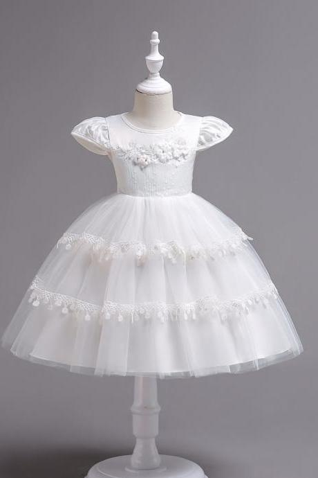 Lace Flower Girl Dress Cap Sleeve Wedding Communion Party Tutu Gown Kids Children Clothes off white