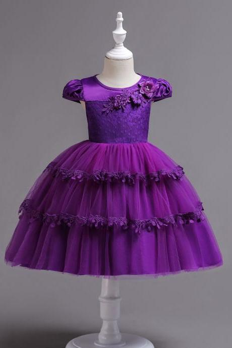 Lace Flower Girl Dress Cap Sleeve Wedding Communion Party Tutu Gown Kids Children Clothes purple