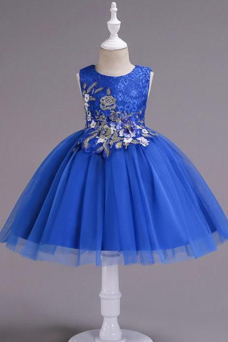 Lace Flower Girl Dress Sleeveless Princess Formal Birthday Party Tutu Gown Kids Children Clothes blue
