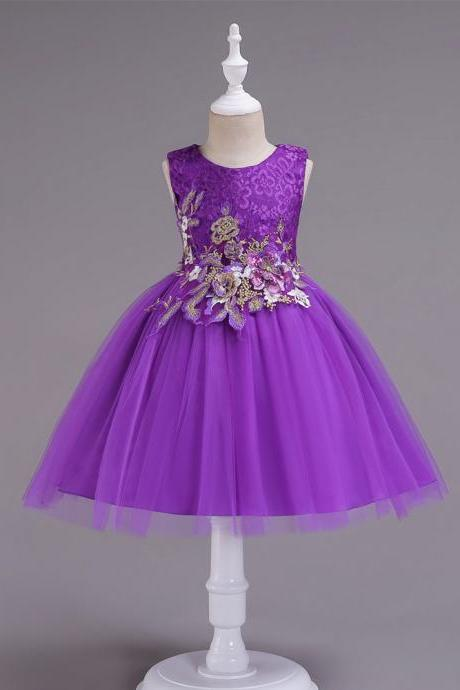 Lace Flower Girl Dress Sleeveless Princess Formal Birthday Party Tutu Gown Kids Children Clothes purple