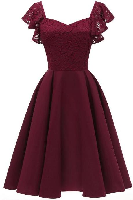 Women Casual Dress Vintage Ruffle Lace Cap Sleeve A Line Work Office Party Dress burgundy