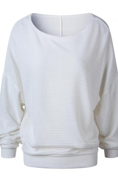 Women Knitted Sweater Spring Autumn Bat Long Sleeve Loose Oversized Pullover Tops off white