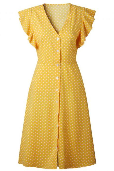 Women Polka Dot Shirt Dress V Neck Ruffle Sleeveless Casual Boho Beach A Line Midi Sundress yellow
