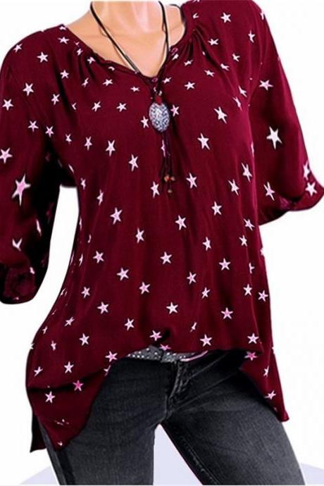 Plus Size Women T-Shirt Stars Printed 3/4 Sleeve Casual Loose V Neck Tops burgundy