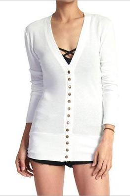 Women Cropped Cardigan V Neck Long Sleeve Button Slim Short Sweater Coat Jacket off white