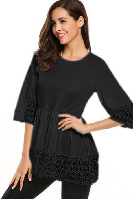 Plus Size Women Tops Shirt Lace 3/4 Sleeve Tunic Casual Loose Blouses black