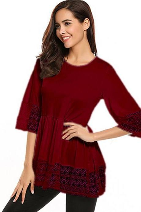 Plus Size Women Tops Shirt Lace 3/4 Sleeve Tunic Casual Loose Blouses burgundy