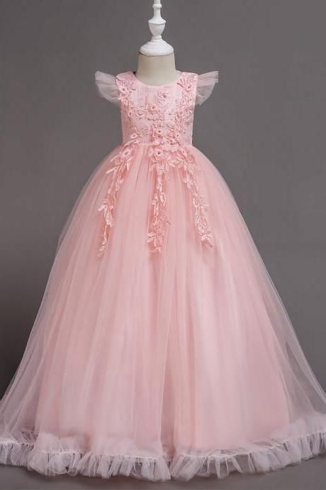 Long Flower Girl Dress Lace Cap Sleeve Formal Party Evening Gown Children Clothes pink
