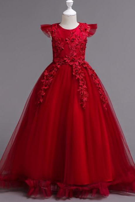 Long Flower Girl Dress Lace Cap Sleeve Formal Party Evening Gown Children Clothes red