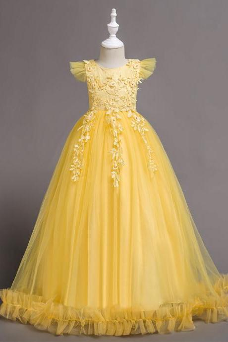 Long Flower Girl Dress Lace Cap Sleeve Formal Party Evening Gown Children Clothes yellow