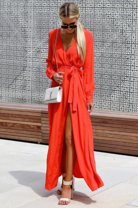 Women Maxi Dress V Neck Long Sleeve Split Belted Long Casual Beach Dress orange red