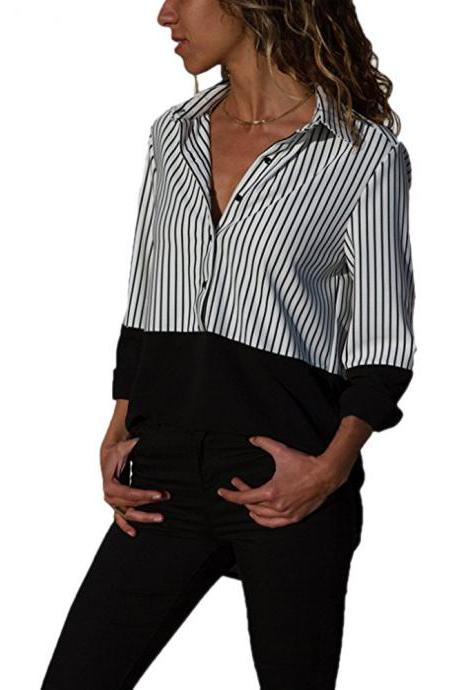 Women Striped Patchwork Tops Shirt V Neck Button Casual Long Sleeve Plus Size Blouses black