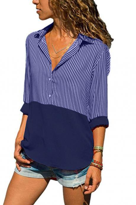 Women Striped Patchwork Tops Shirt V Neck Button Casual Long Sleeve Plus Size Blouses dark blue