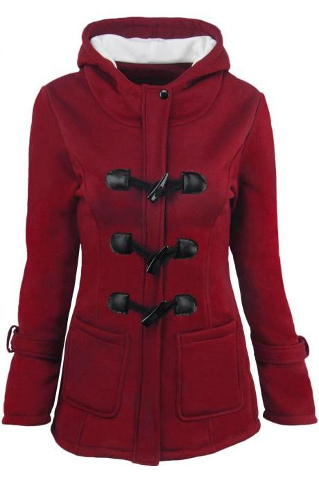 Women Parka Jacket Hooded Solid Warm Horns Buckle Winter Long Sleeve Slim Wadded Long Casual Coat crimson