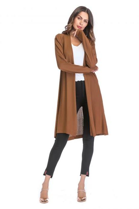 Women Knitted Cardigan Long Sleeve Solid Thin Casual Loose Long Sweater Coat Outerwear khaki