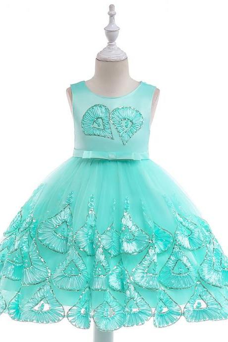 Embroidery Flower Girl Dress Sleeveless Sequined Princess Formal Birthday Party Tutu Gown Children Clothes aqua
