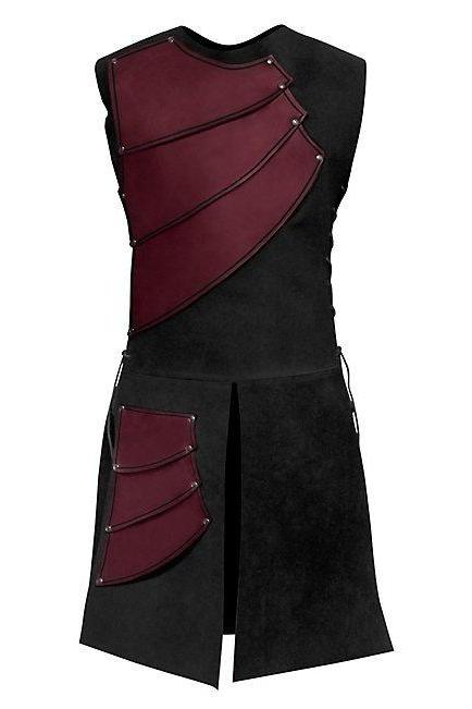 Men Costume Adult Sleeveless Patchwork Medieval Garments Middle Ages Cosplay Clothes red