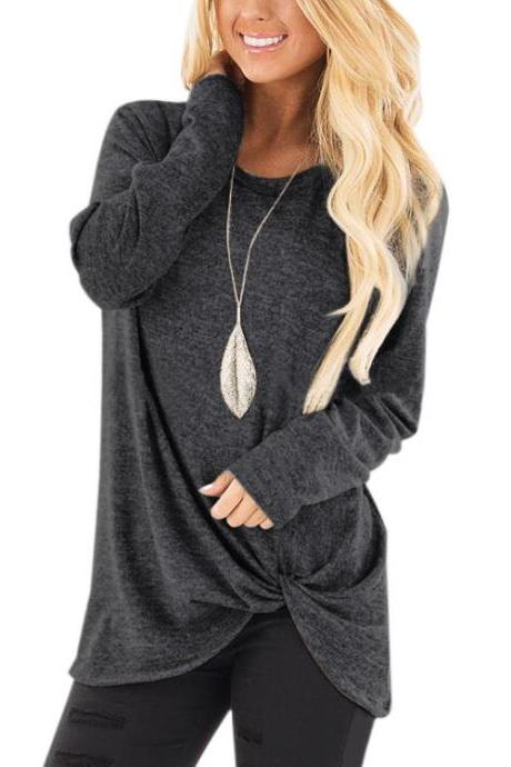Women Tops Tee Spring Autumn O Neck Casual Basic Loose Kink Long Sleeve T-Shirt dark gray
