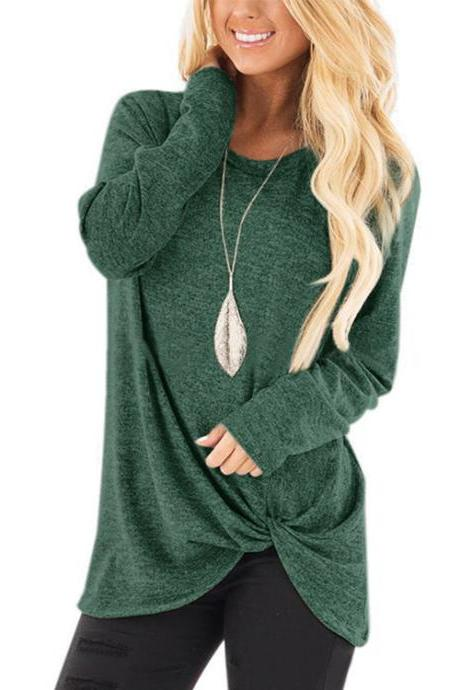 Women Tops Tee Spring Autumn O Neck Casual Basic Loose Kink Long Sleeve T-Shirt green