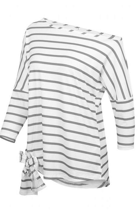 Women Asymmetrical Striped T Shirt 3/4 Sleeve Skew Shoulder Summer Casual Loose Off the Shoulder Tops gray