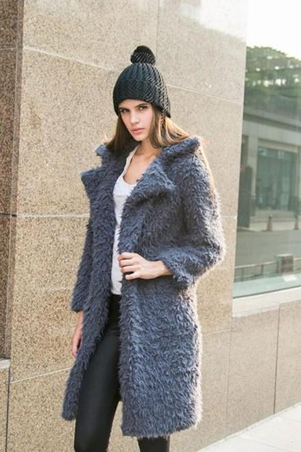 Women Faux Fur Long Coat Turn-Down Collar Winter Female Warm Furry Trench Jacket Outwear gray