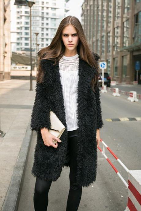 Women Faux Fur Long Coat Turn-Down Collar Winter Female Warm Furry Trench Jacket Outwear black