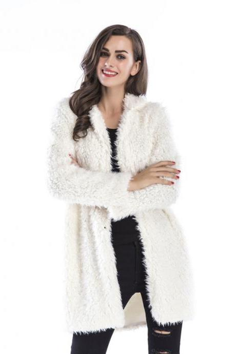 Women Faux Fur Long Coat Turn-Down Collar Winter Female Warm Furry Trench Jacket Outwear off white