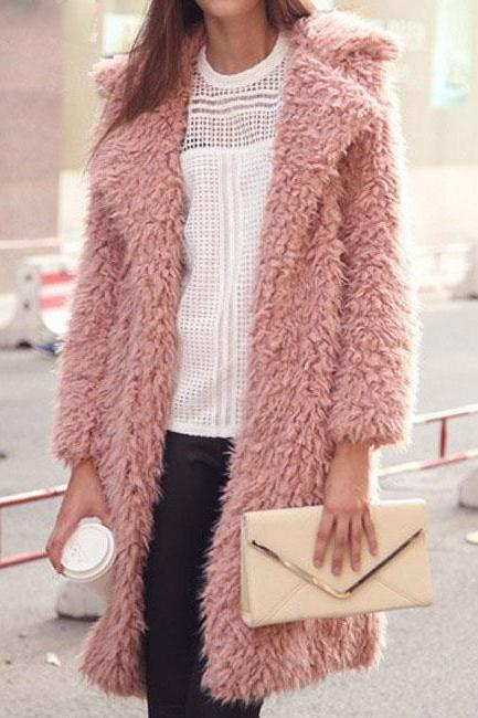 Women Faux Fur Long Coat Turn-Down Collar Winter Female Warm Furry Trench Jacket Outwear pink