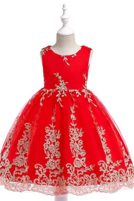 Embroidery Lace Flower Girl Dress Princess Sleeveless Formal Birthday Party Tutu Gown Children Clothes red