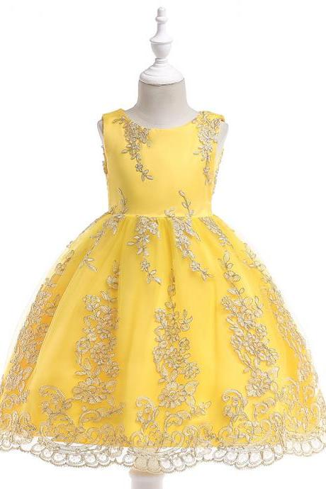Embroidery Lace Flower Girl Dress Princess Sleeveless Formal Birthday Party Tutu Gown Children Clothes yellow
