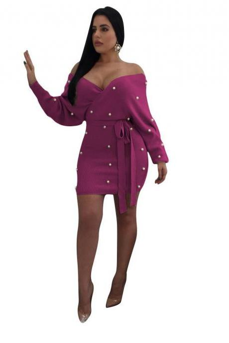 Women Bodycon Dress Pearls Off Shoulder Long Sleeve Backless Wrap Mini Club Party Dress purple