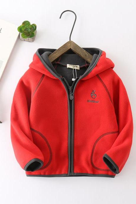 Kids Boys Girls Fleece Coat Long Sleeve Hooded Zipper Casual Warm Polar Fleece Jacket red