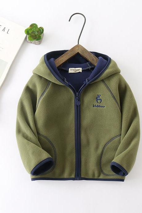 Kids Boys Girls Fleece Coat Long Sleeve Hooded Zipper Casual Warm Polar Fleece Jacket army green