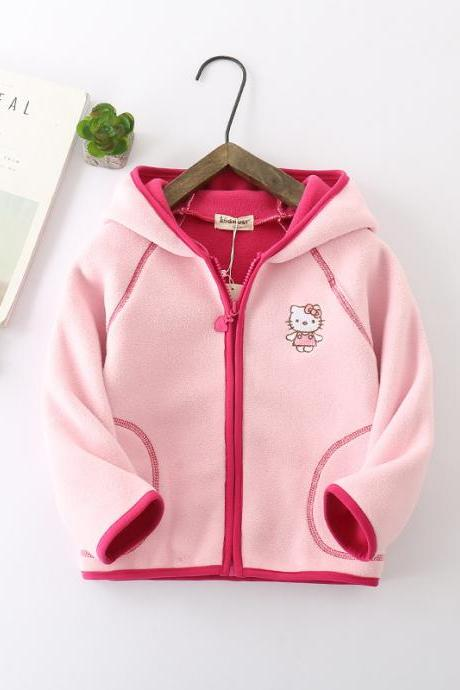 Kids Boys Girls Fleece Coat Long Sleeve Hooded Zipper Casual Warm Polar Fleece Jacket pink