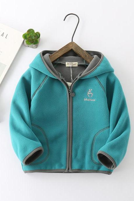 Kids Boys Girls Fleece Coat Long Sleeve Hooded Zipper Casual Warm Polar Fleece Jacket turquoise