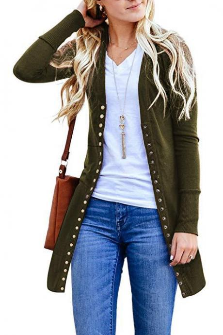 Women Knitted Cardigan V Neck Button Long Sleeve Autumn Casual Slim Sweater Coat army green