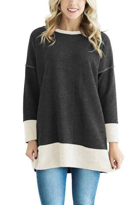 Women Long Sleeve T-Shirt O-Neck Patchwork Spring Autumn Casual Loose Tees Tops black-gray