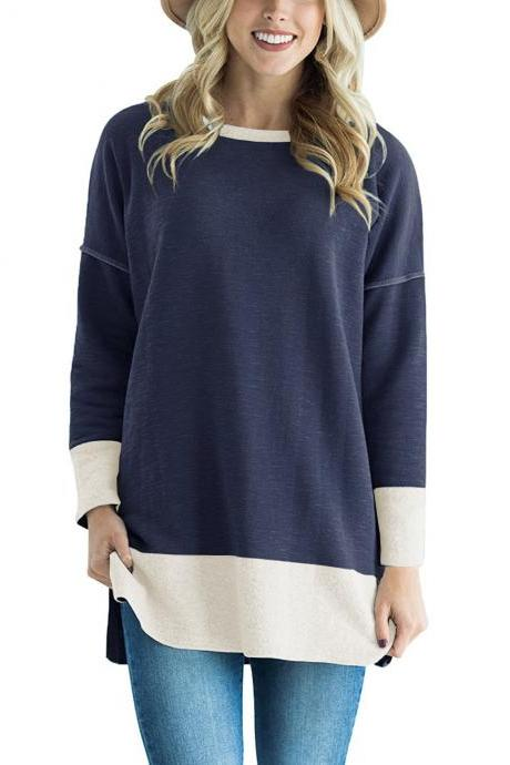 Women Long Sleeve T-Shirt O-Neck Patchwork Spring Autumn Casual Loose Tees Tops navy blue